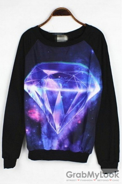 c89163352 Apparel :: Sweatshirts :: Galaxy Universe Diamond Long Sleeves Sweatshirt  Sweater