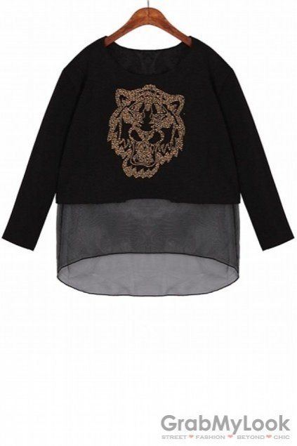 Organza Embroidered Tiger Cropped Long Sleeves Sweatshirt Sweater