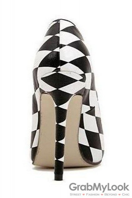 b4f765870bb Checkers Chessboard Black White Point Head Sexy High Heels Stiletto Shoes