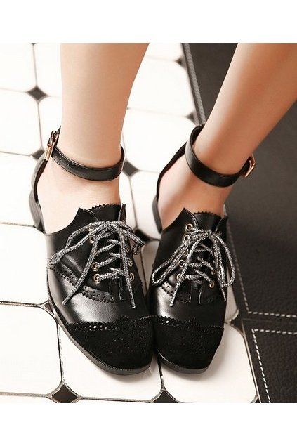 69d394bc1ddd4 Gothic Vintage Punk Rock Black Lace Up Ankle Strap Loafers Flats Shoes