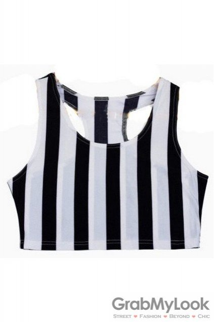 e76be6ab07bf72 Black White Vertical Stripes Punk Rock Cropped Sleeveless Yoga T ...