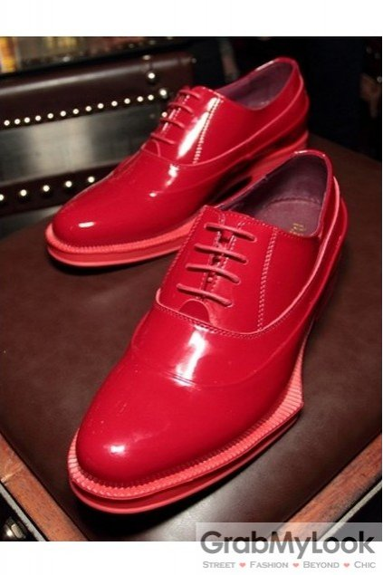 5e45184c450e Red Patent Leather Lace Up Platforms Irregular Sole Oxfords Mens ...