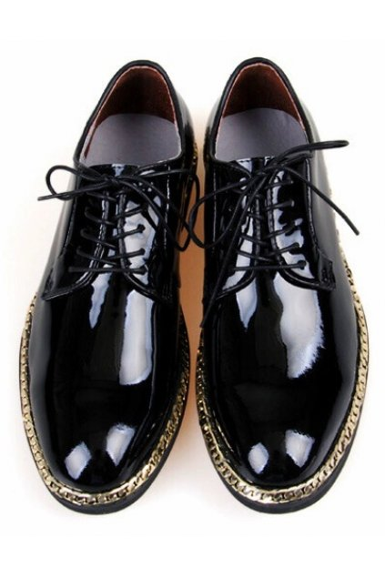 1150211d5fe Patent Shiny Leather Black Lace Up Punk Rock Gold Chain Oxfords Mens Shoes
