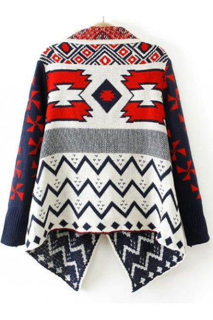 8e75cd934e1e0b Blue Red Tribal Ethnic Pattern Long Sleeves Blouse Cardigan