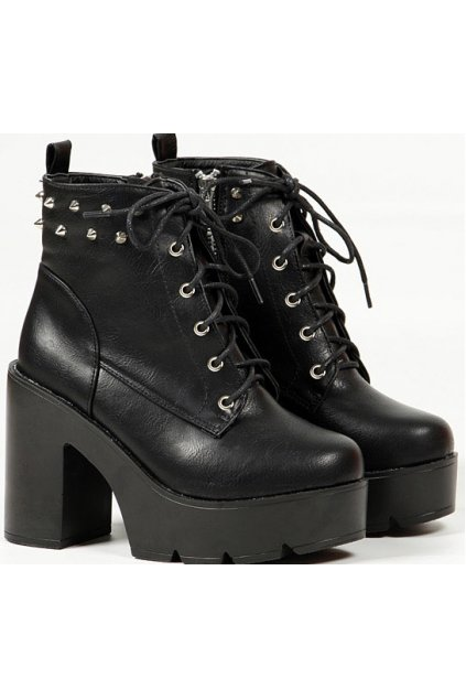 dfdc74a0d Black Lace Up Spike Punk Rock Military Chunky Heel Platforms Ankle Boots  Shoes
