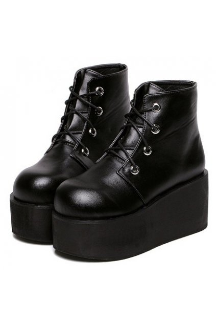 1dd6b7483857  Black Leather Lace Up High Top Punk Rock Gothic Chunky Platforms Creepers  Boots Shoes