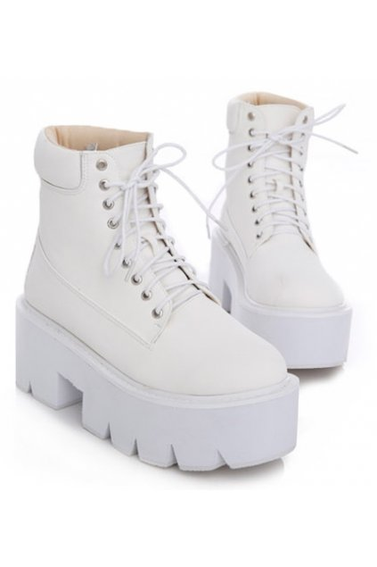 White Leather Lace Up Platforms Chunky