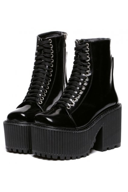 81f8403b078 Black Platforms Lace Up High Top Chunky Heels Gothic Punk Rock Boots Shoes