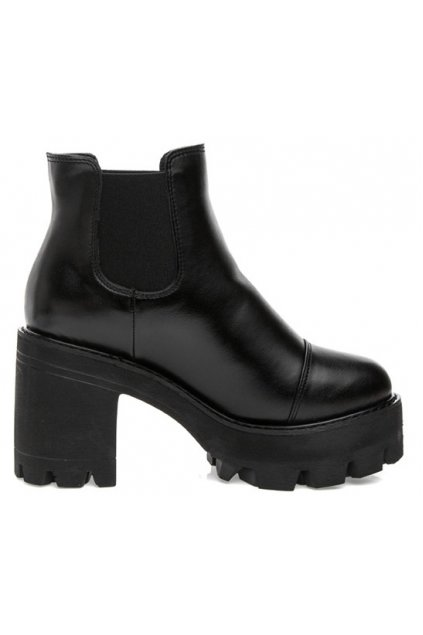 Black Leather Platforms Chunky Sole