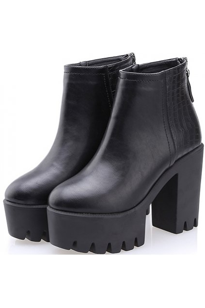 2187ed01c9994 Black Leather Chunky Sole Heels Platforms Ankle Boots Shoes