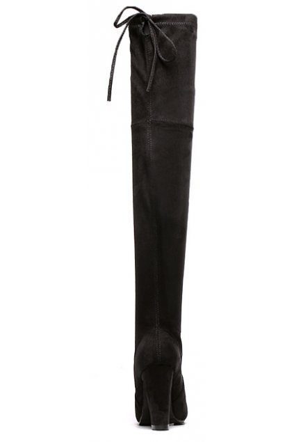 067ecccd9c0 Suede Black Long Knee High Heels Point Head Tied Up Boots Women Shoes
