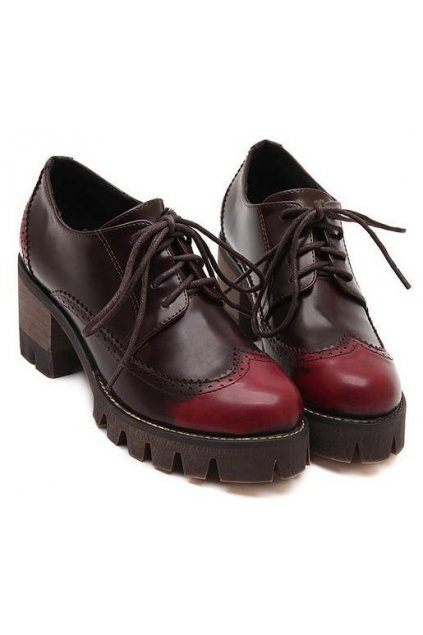 f6af83e983ae Lace Up Burgundy Old School Vintage Platforms Oxfords Chunky Boots Shoes