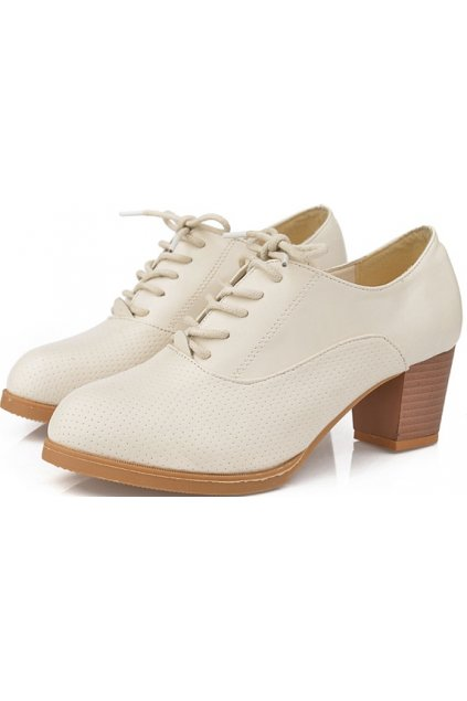 Cream Leather Old School Oxfords Lace Up High Heels Ankle Boots Booties Women Shoes