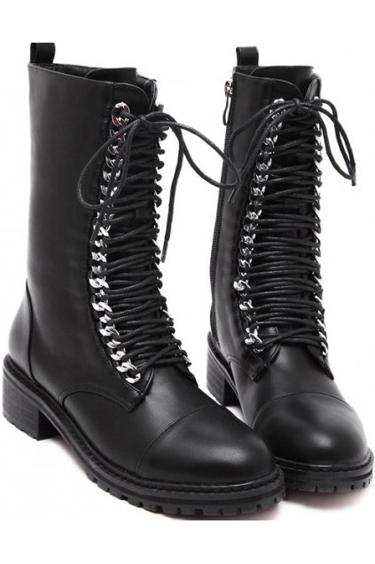 Black Leather Lace Up High Top Gothic