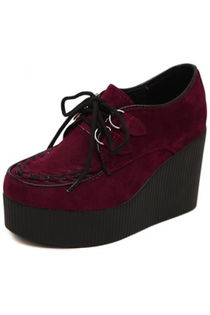 abaab9bf69be Red Burgundy Stitches Black Lace Up Creepers Platforms Wedges ...