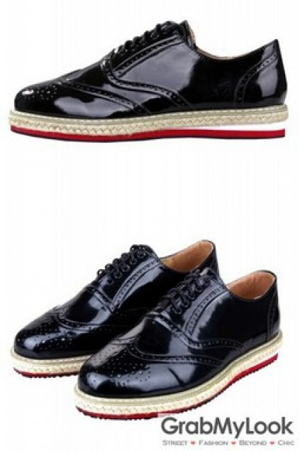 Black Patent Leather Lace Up