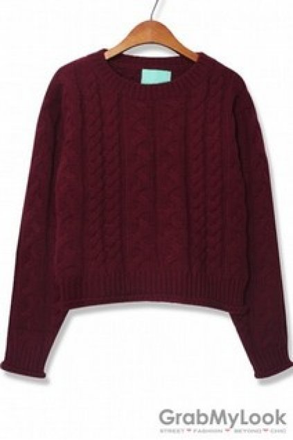 088acf91b6438c Apparel :: Sweater :: Vintage Knit Old School Plain Color Long Sleeves  Sweater